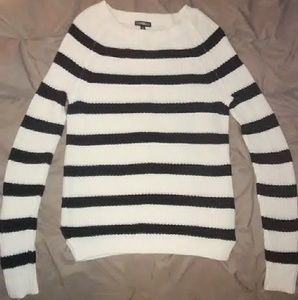 Black and White striped cotton long sleeved sweate
